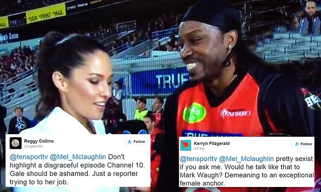 chris gayle flirts with interviewer Chris gayle has been heavily criticised for asking reporter mel mclaughlin out during a live interview gayle, who has since anything like 'sweetie, baby, darling, toots' to someone you don't know is condescending and yes, definitely flirting with the line of being sexist 3) 'don't blush' is pushy.