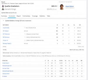quetta vs karachi result