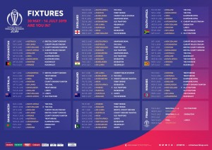 The Fixtures For The 2019 Cricket World Cup