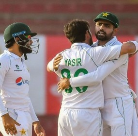Babar Azam and Yasir Shah Celebrating Victory against SA
