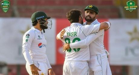 Babar Azam and Yasir Shah Celebrating Victory against SA