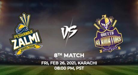 Quetta Gladiator vs Peshawar Zalmi