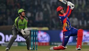 Karachi Kings Player Hitting Six against Lahore Qalandars